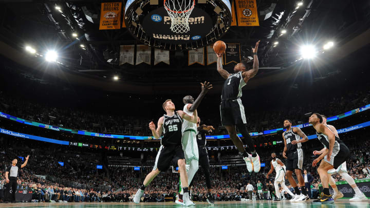 BOSTON, MA – JANUARY 8: Lonnie Walker IV #1 of the San Antonio Spurs shoots the ball against the Boston Celtics on January 8, 2020 at the TD Garden (Photo by Brian Babineau/NBAE via Getty Images)