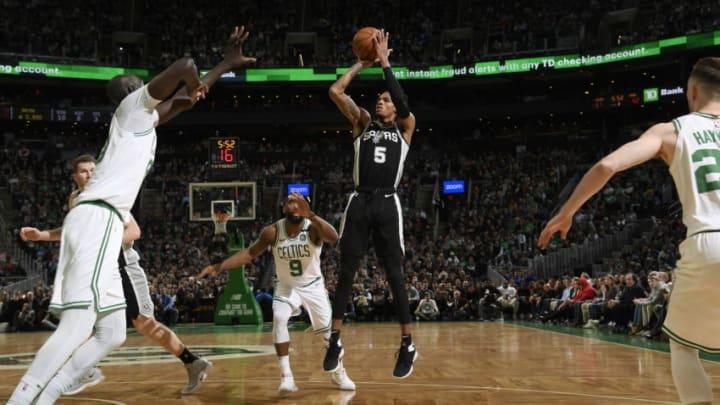 Dejounte Murray of the San Antonio Spurs. (Photo by Brian Babineau/NBAE via Getty Images)