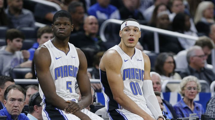 Mo Bamba and Aaron Gordon. (Photo by Michael Reaves/Getty Images)