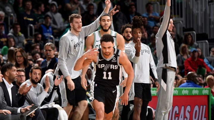 BOSTON, MA – JANUARY 8: Bryn Forbes #11 of the San Antonio Spurs celebrates after hitting a three-pointer against the San Antonio Spurs on January 8, 2020, at the TD Garden (Photo by Brian Babineau/NBAE via Getty Images)