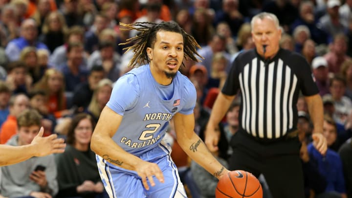 CHARLOTTESVILLE, VA – DECEMBER 07: Divisive NBA Draft prospect Cole Anthony #2 of the North Carolina Tar Heels dribbles in the first half during a game against the Virginia Cavaliers. (Photo by Ryan M. Kelly/Getty Images)