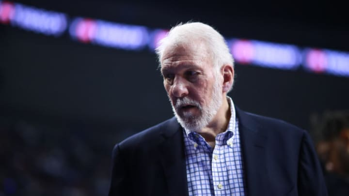 MEXICO CITY, MEXICO - DECEMBER 14: Gregg Popovich, head coach of the San Antonio Spurs looks on during a game between San Antonio Spurs and Phoenix Suns at Arena Ciudad de Mexico on December 14, 2019 in Mexico City, Mexico. (Photo by Hector Vivas/Getty Images)