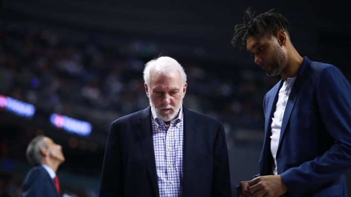 MEXICO CITY, MEXICO – DECEMBER 14: Gregg Popovich, head coach of the San Antonio Spurs and Tim Duncan during a game between San Antonio Spurs and Phoenix Suns at Arena Ciudad de Mexico (Photo by Hector Vivas/Getty Images)