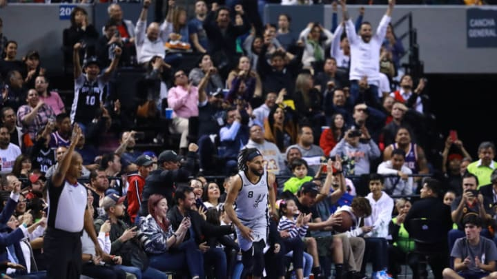 MEXICO CITY, MEXICO - DECEMBER 14: Patty Mills #8 of the San Antonio Spurs celebreates after scoring a shot during a game between San Antonio Spurs and Phoenix Suns at Arena Ciudad de Mexico on December 14, 2019 in Mexico City, Mexico. (Photo by Hector Vivas/Getty Images)