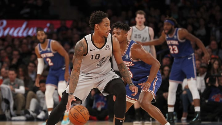 NEW YORK, NEW YORK – NOVEMBER 23: (NEW YORK DAILIES OUT) DeMar DeRozan #10 of the San Antonio Spurs against the New York Knicks at Madison Square Garden on November 23, 2019. (Photo by Jim McIsaac/Getty Images)
