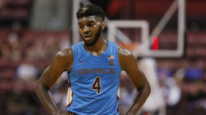 SUNRISE, FLORIDA – DECEMBER 21: Patrick Williams #4 of the Florida State Seminoles, whose NBA Draft stock is rising, reacts against during the Orange Bowl Basketball Classic. (Photo by Michael Reaves/Getty Images)
