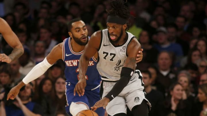 NEW YORK, NEW YORK - NOVEMBER 23: (NEW YORK DAILIES OUT) DeMarre Carroll #77 of the San Antonio Spurs in action against Wayne Ellington #2 of the New York Knicks at Madison Square Garden on November 23, 2019 in New York City. The Spurs defeated the Knicks 111-104. NOTE TO USER: User expressly acknowledges and agrees that, by downloading and or using this photograph , user is consenting to the terms and conditions of the Getty Images License Agreement. (Photo by Jim McIsaac/Getty Images)