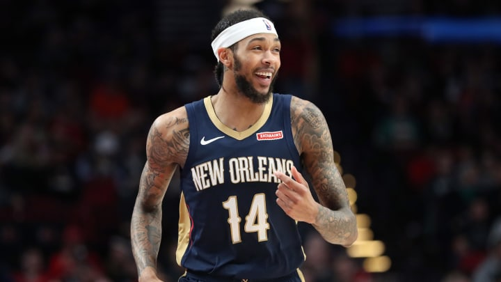 PORTLAND, OREGON – DECEMBER 23: Brandon Ingram #14 of the New Orleans Pelicans reacts in the third quarter against the Portland Trail Blazers during their game at Moda Center (Photo by Abbie Parr/Getty Images)