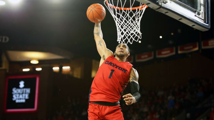 RICHMOND, VA – JANUARY 25: Obi Toppin #1 of the Dayton Flyers dunks in the second half during a game against the Richmond Spiders at Robins Center on January 25, 2020 in Richmond, Virginia. (Photo by Ryan M. Kelly/Getty Images)