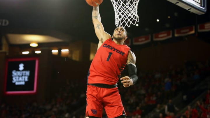 RICHMOND, VA - JANUARY 25: Obi Toppin #1 of the Dayton Flyers dunks in the second half during a game against the Richmond Spiders at Robins Center on January 25, 2020 in Richmond, Virginia. (Photo by Ryan M. Kelly/Getty Images)