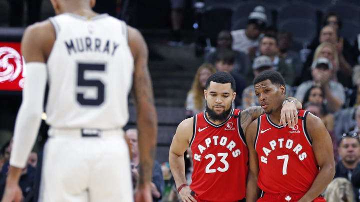 Dejounte Murray Fred VanVleet Kyle Lowry (Photo by Ronald Cortes/Getty Images)