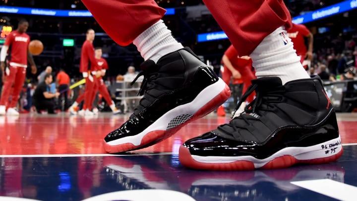 WASHINGTON, DC – DECEMBER 30: A detailed view of Miami Heat big man Bam Adebayo's Air Jordan 11s, which are San Antonio Spurs guard Derrick White's favorite Jordan (Photo by Will Newton/Getty Images)