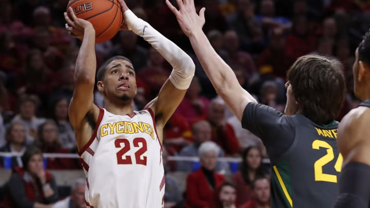 AMES, IA – JANUARY 29: NBA Draft prospect Tyrese Haliburton #22 of the Iowa State Cyclones takes a shot in a game against Baylor at Hilton Coliseum. (Photo by David Purdy/Getty Images)