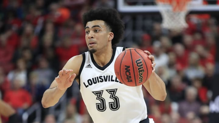 LOUISVILLE, KENTUCKY – JANUARY 04: Jordan Nwora #33 of the Louisville Cardinals dribbles the ball against the Florida State Seminoles at KFC YUM! Center on January 04, 2020 in Louisville, Kentucky. (Photo by Andy Lyons/Getty Images)