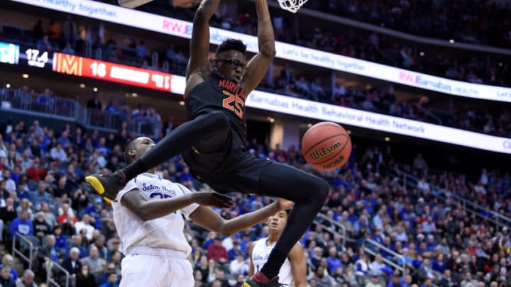 NEWARK, NJ - DECEMBER 19: San Antonio Spurs draft prospect Jalen Smith #25 of the Maryland Terrapins dunks the ball against the Seton Hall Pirates at Prudential Center on December 19, 2019 in Newark, New Jersey. (Photo by G Fiume/Maryland Terrapins/Getty Images)