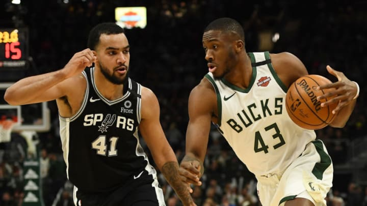 MILWAUKEE, WISCONSIN - JANUARY 04: Thanasis Antetokounmpo #43 of the Milwaukee Bucks drives to the basket against Trey Lyles #41 of the San Antonio Spurs during a game at Fiserv Forum on January 04, 2020 in Milwaukee, Wisconsin. NOTE TO USER: User expressly acknowledges and agrees that, by downloading and or using this photograph, User is consenting to the terms and conditions of the Getty Images License Agreement. (Photo by Stacy Revere/Getty Images)