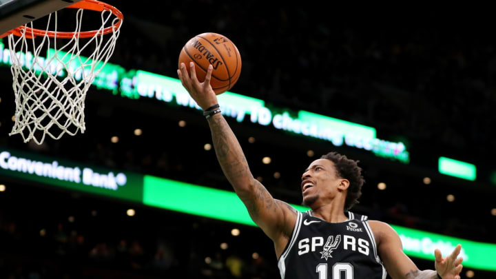 BOSTON, MASSACHUSETTS – JANUARY 08: DeMar DeRozan #10 of the San Antonio Spurs takes a shot against the Boston Celtics at TD Garden on January 08, 2020 (Photo by Maddie Meyer/Getty Images)