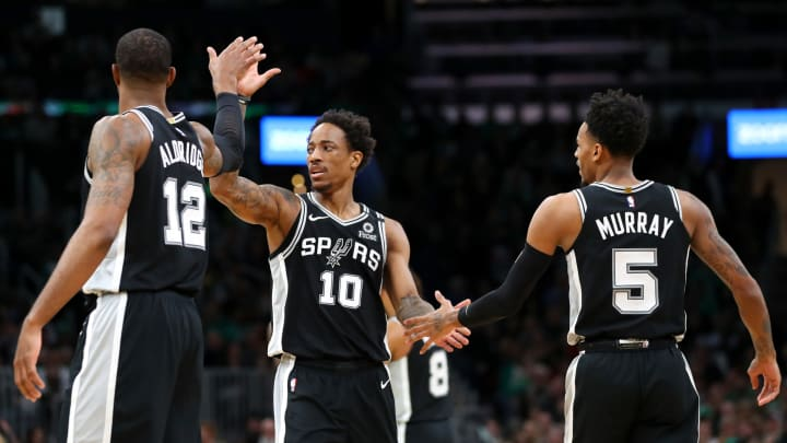 San Antonio Spurs LaMarcus Aldridge, DeMar DeRozan, Dejounte Murray (Photo by Maddie Meyer/Getty Images)