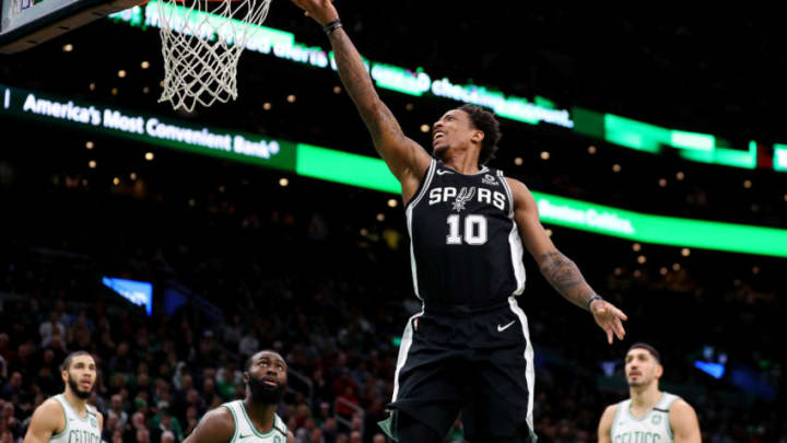 BOSTON, MASSACHUSETTS - JANUARY 08: DeMar DeRozan #10 of the San Antonio Spurs takes a shot against the Boston Celtics at TD Garden on January 08, 2020 in Boston, Massachusetts. (Photo by Maddie Meyer/Getty Images)