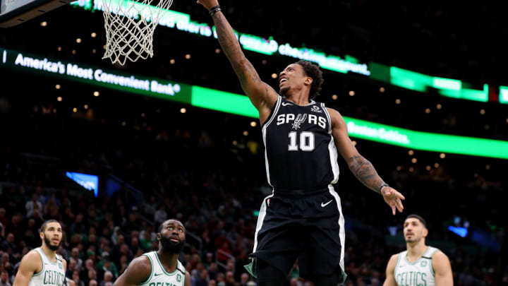 BOSTON, MASSACHUSETTS – JANUARY 08: DeMar DeRozan #10 of the San Antonio Spurs takes a shot against the Boston Celtics at TD Garden on January 08, 2020 in Boston, Massachusetts. (Photo by Maddie Meyer/Getty Images)