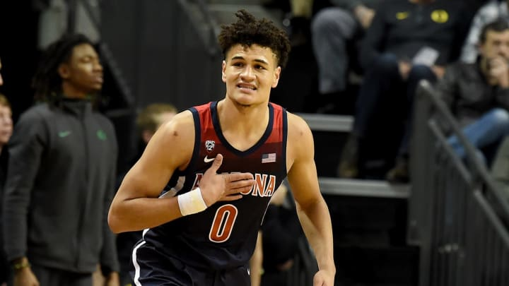 EUGENE, OREGON – JANUARY 09: NBA Draft prospect Josh Green #0 of the Arizona Wildcats reacts after hitting a shot during the first half against the Oregon Ducks at Matthew Knight Arena. (Photo by Steve Dykes/Getty Images)