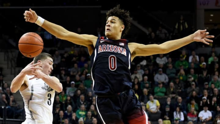 EUGENE, OREGON - JANUARY 09: NBA Draft prospect Josh Green #0 of the Arizona Wildcats fills a lot of needs for the San Antonio Spurs, who are projected the 11th pick (Photo by Steve Dykes/Getty Images)