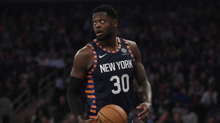 NEW YORK, NEW YORK – JANUARY 12: Julius Randle #30 of the New York Knicks looks on during the first half of the game against the Miami Heat at Madison Square Garden (Photo by Sarah Stier/Getty Images)