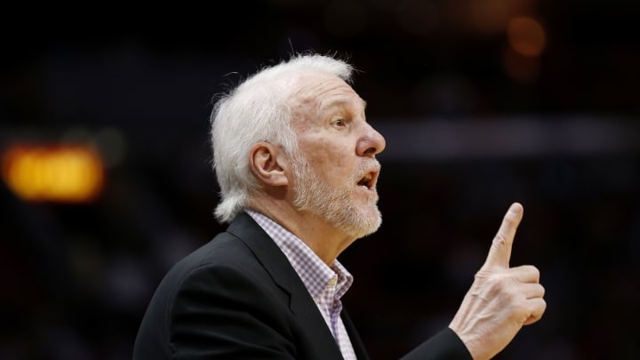 MIAMI, FLORIDA – JANUARY 15: Head coach Gregg Popovich of the San Antonio Spurs reacts against the Miami Heat during the first half at American Airlines Arena on January 15, 2020 (Photo by Michael Reaves/Getty Images)