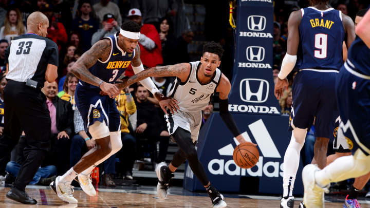 Dejounte Murray of the San Antonio Spurs handles the ball. (Photo by Bart Young/NBAE via Getty Images)