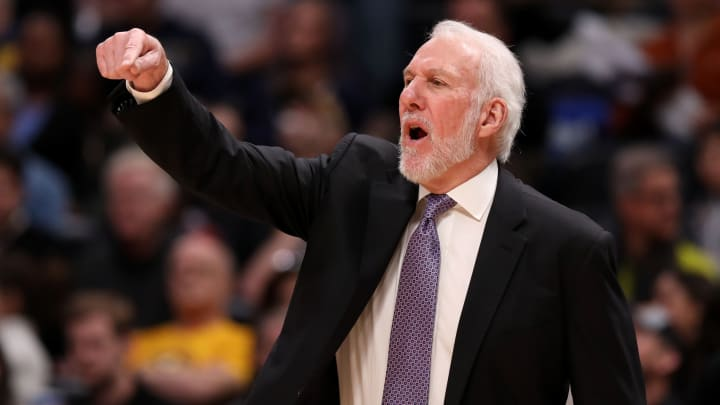 DENVER, CO – FEBRUARY 10: Head coach Gregg Popovich of the San Antonio Spurs reacts to a call during action against the Denver Nuggets at Pepsi Center (Photo by Jamie Schwaberow/Getty Images)