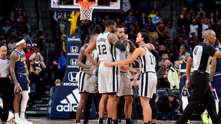 DENVER, CO – FEBRUARY 10: The San Antonio Spurs huddle up during a game against the Denver Nuggets on February 10, 2020 at the Pepsi Center in Denver, Colorado. (Photo by Bart Young/NBAE via Getty Images)