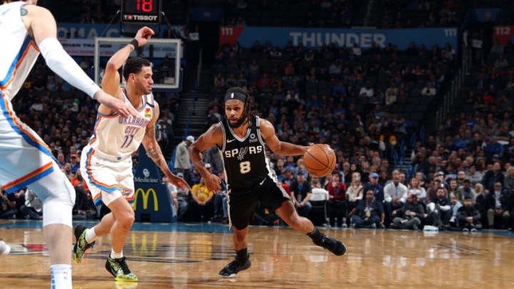 OKLAHOMA CITY, OK - FEBRUARY 11: Patty Mills #8 of the San Antonio Spurs handles the ball during the game against the Oklahoma City Thunder on February 11, 2020 at Chesapeake Energy Arena in Oklahoma City, Oklahoma. NOTE TO USER: User expressly acknowledges and agrees that, by downloading and or using this photograph, User is consenting to the terms and conditions of the Getty Images License Agreement. Mandatory Copyright Notice: Copyright 2020 NBAE (Photo by Zach Beeker/NBAE via Getty Images)