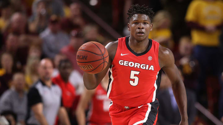 TEMPE, ARIZONA – DECEMBER 14: Anthony Edwards #5 of the Georgia Bulldogs handles the ball during the NCAAB game against the Arizona State Sun Devils at Desert Financial Arena on December 14, 2019 in Tempe, Arizona. (Photo by Christian Petersen/Getty Images)
