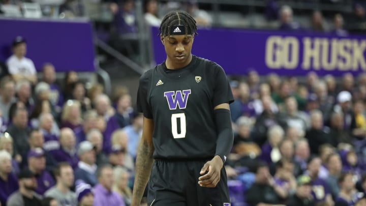 SEATTLE, WASHINGTON – JANUARY 18: NBA Draft prospect Jaden McDaniels #0 of the Washington Huskies reacts in the second half vs. the Oregon Ducks during a game at Hec Edmundson Pavilion. (Photo by Abbie Parr/Getty Images)