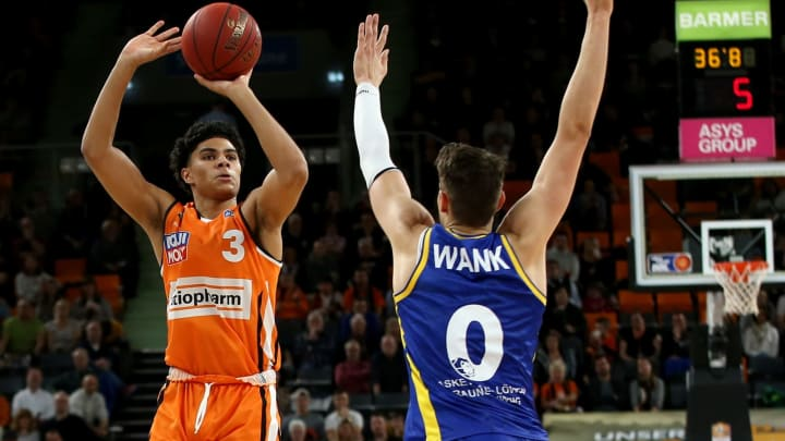 ULM, GERMANY – FEBRUARY 14: NBA Draft prospect Killian Hayes of Ulm shoots over Lukas Wank of Braunschweig during the EasyCredit Basketball Bundesliga (BBL) match. (Photo by Harry Langer/DeFodi Images via Getty Images)