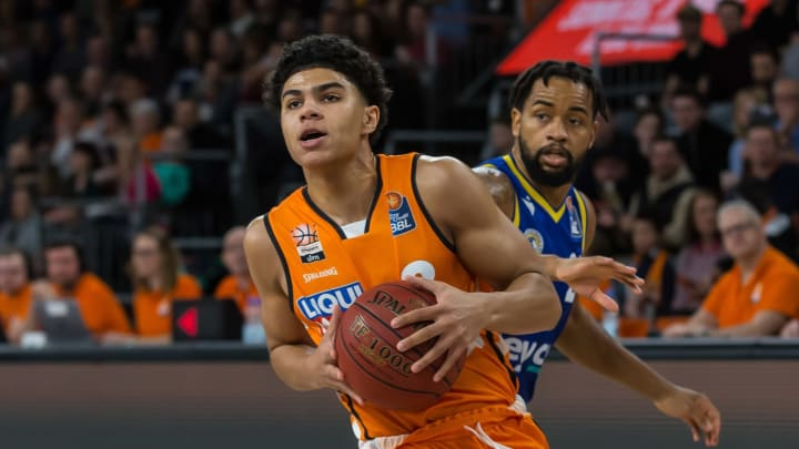 ULM, GERMANY – FEBRUARY 14: (BILD ZEITUNG OUT) NBA Draft point guard prospect Killian Hayes of Ulm battles for the ball during the EasyCredit Basketball Bundesliga match. (Photo by Harry Langer/DeFodi Images via Getty Images)