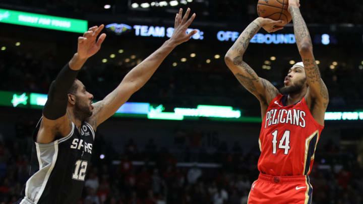 NEW ORLEANS, LOUISIANA - JANUARY 22: Brandon Ingram #14 of the New Orleans Pelicans shoots the ball over LaMarcus Aldridge #12 of the San Antonio Spurs at Smoothie King Center on January 22, 2020 in New Orleans, Louisiana. NOTE TO USER: User expressly acknowledges and agrees that, by downloading and/or using this photograph, user is consenting to the terms and conditions of the Getty Images License Agreement. (Photo by Chris Graythen/Getty Images)