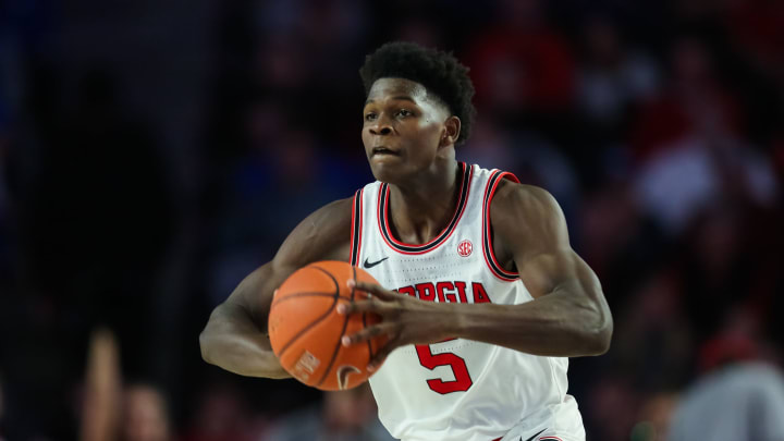 ATHENS, GA – JANUARY 7: Anthony Edwards #5 of the Georgia Bulldogs, a top NBA Draft prospect, controls the ball during a game against the Kentucky Wildcats (Photo by Carmen Mandato/Getty Images)