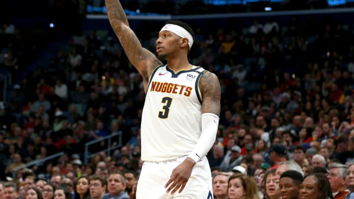 NEW ORLEANS, LOUISIANA – JANUARY 24: Torrey Craig #3 of the Denver Nuggets reacts after scoring a three-pointer during an NBA game against the New Orleans Pelicans at Smoothie King Center (Photo by Sean Gardner/Getty Images)