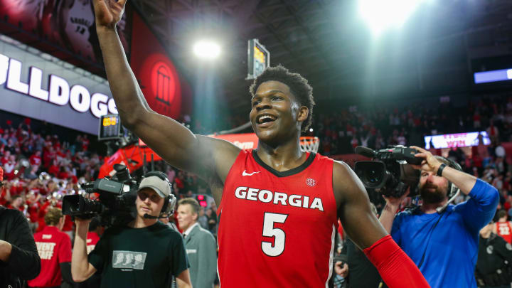 ATHENS, GA – FEBRUARY 19: Anthony Edwards of the Georgia Bulldogs, who goes No. 1 in this NBA Mock Draft, reacts following a win over the Auburn Tigers. (Photo by Carmen Mandato/Getty Images)