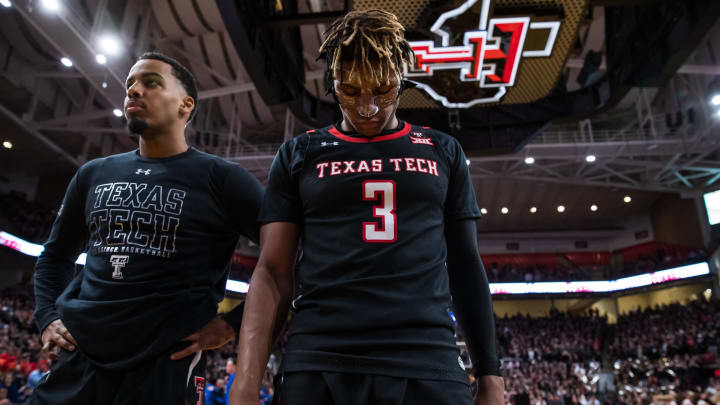 LUBBOCK, TEXAS – JANUARY 25: NBA Draft prospect Jahmi'us Ramsey #3 of the Texas Tech Red Raiders stand for the National Anthem before a game against the Kentucky Wildcats. (Photo by John E. Moore III/Getty Images)