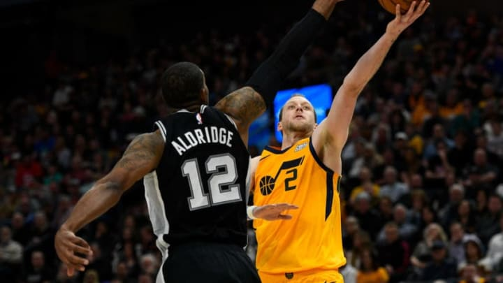 SALT LAKE CITY, UT - FEBRUARY 21: Joe Ingles #2 of the Utah Jazz shoots over LaMarcus Aldridge #12 of the San Antonio Spurs during a game at Vivint Smart Home Arena on February 21, 2020 in Salt Lake City, Utah. NOTE TO USER: User expressly acknowledges and agrees that, by downloading and/or using this photograph, user is consenting to the terms and conditions of the Getty Images License Agreement. (Photo by Alex Goodlett/Getty Images)