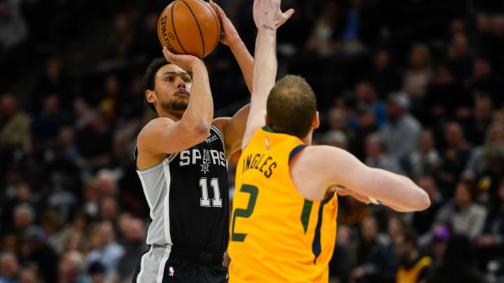 SALT LAKE CITY, UT – FEBRUARY 21: Bryn Forbes #11 of the San Antonio Spurs shoots over Joe Ingles #2 of the Utah Jazz during a game at Vivint Smart Home Arena on February 21, 2020 (Photo by Alex Goodlett/Getty Images)