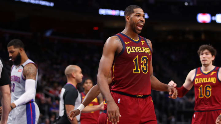DETROIT, MICHIGAN – JANUARY 27: Tristan Thompson #13 of the Cleveland Cavaliers reacts to a second half basket against the Detroit Pistons at Little Caesars Arena (Photo by Gregory Shamus/Getty Images)
