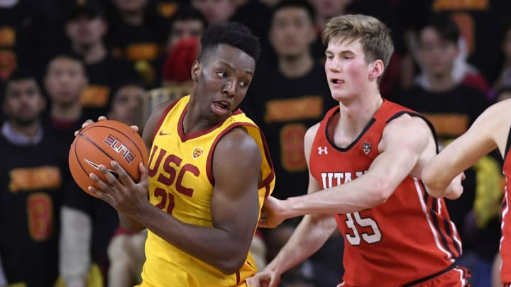 LOS ANGELES, CA – JANUARY 30: Branden Carlson #35 of the Utah Utes guards NBA Draft prospect Onyeka Okongwu #21 of the USC Trojans at Galen Center on January 30, 2020, in Los Angeles. (Photo by John McCoy/Getty Images)