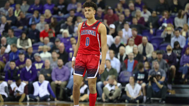 SEATTLE, WASHINGTON – JANUARY 30: Josh Green #0 of the Arizona Wildcats looks on in the first half against the Washington Huskies during their game at Hec Edmundson Pavilion on January 30, 2020 in Seattle, Washington. (Photo by Abbie Parr/Getty Images)