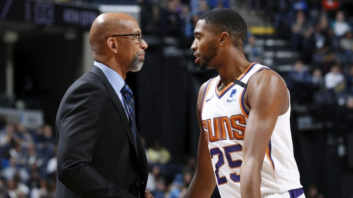 MEMPHIS, TN – JANUARY 26: Mikal Bridges #25 of the Phoenix Suns talks to head coach Monty Williams during a game against the Memphis Grizzlies at FedExForum (Photo by Joe Robbins/Getty Images)