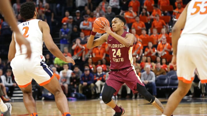 CHARLOTTESVILLE, VA – JANUARY 28: NBA Draft prospect Devin Vassell #24 of the Florida State Seminoles, who makes sense for the San Antonio Spurs, in action against the Virginia Cavaliers. (Photo by Ryan M. Kelly/Getty Images)