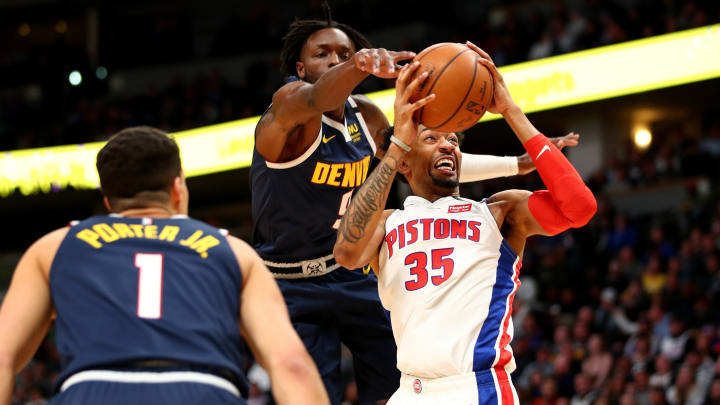 DENVER, CO – FEBRUARY 25: Christian Wood #35 of the Detroit Pistons drives past Jerami Grant #9 of the Denver Nuggets at Pepsi Center on February 25, 2020 (Photo by Jamie Schwaberow/Getty Images)