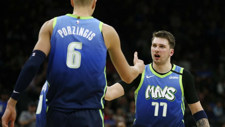 Luka Doncic Kristaps Porzingis (Photo by Ronald Cortes/Getty Images)